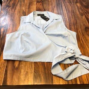 Elioquii collared crop top with tie waist